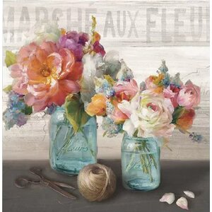 'French Cottage Bouquet III' Painting Print on Canvas by Lark Manor