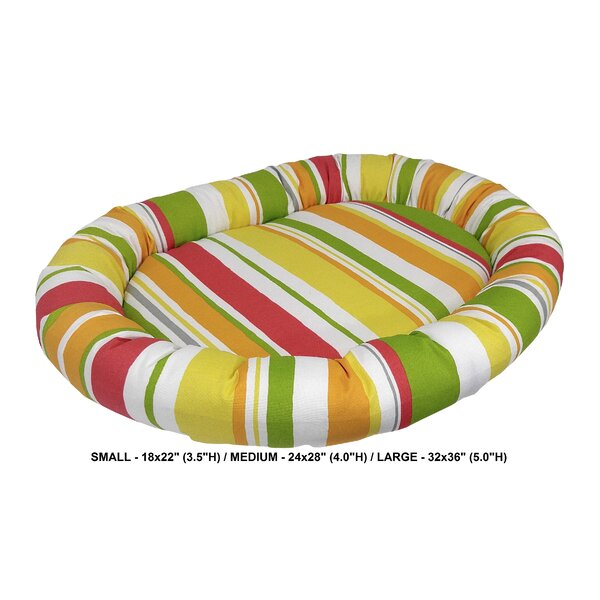 Nadia Stripe Indoor/Outdoorl Bolster Dog Bed by Tucker Murphy Pet