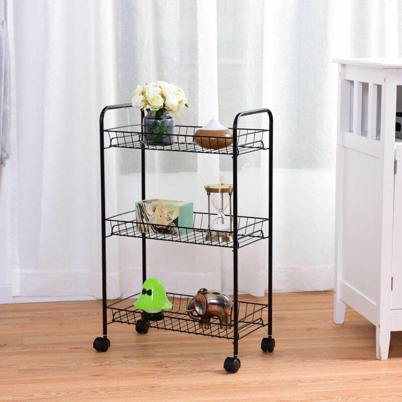 3 Tier Rolling Kitchen Trolley Utility Cart Wire Storage Shelf Baskets