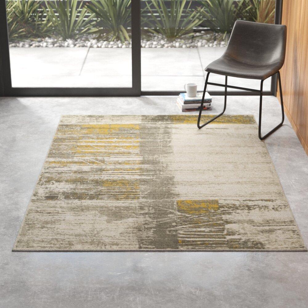 Chartwell Abstract Mustard/Dark Brown/Light Gray Area Rug