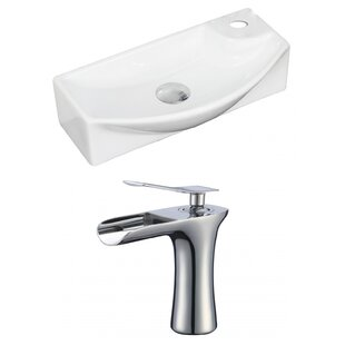 Clearance Ceramic Rectangular Vessel Bathroom Sink with Faucet and Overflow By American Imaginations