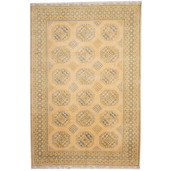 Turkoman Hand-Knotted Ivory/Light Blue Area Rug by Herat Oriental