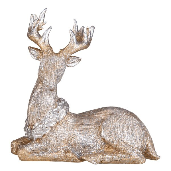 Desmond Resin Glitter Sitting Reindeer by The Holiday Aisle