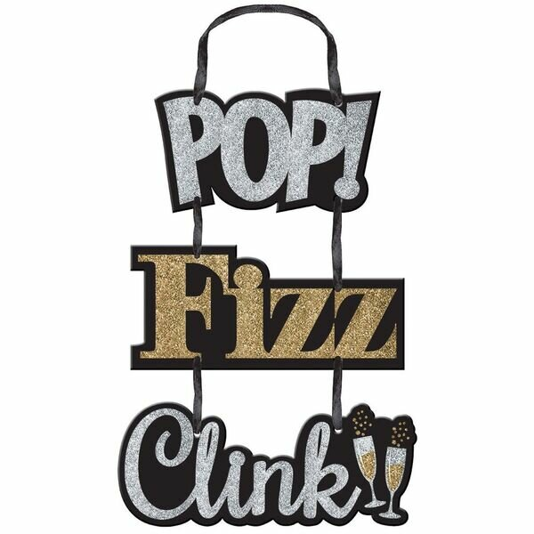 Pop Fizz Clink Glitter Sign by Amscan