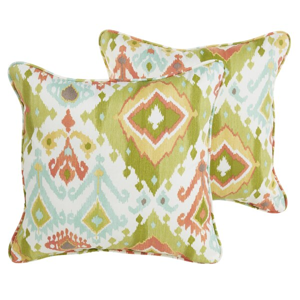 Fealty Green/Turquoise/Coral Indoor/Outdoor Throw Pillow (Set of 2) by World Menagerie