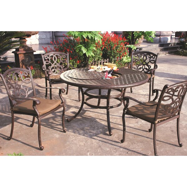 Calhoun 5 Piece Dining Set with Cushions by Fleur De Lis Living