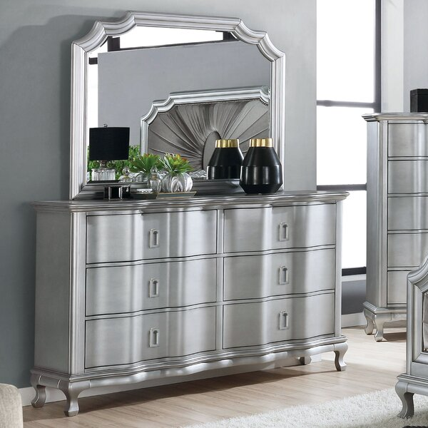 Seng 6 Drawer Double Dresser with Mirror by Everly Quinn