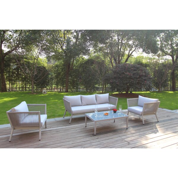 Hackworth Deep 4 Piece Sofa Seating Group with Cushions by Bungalow Rose