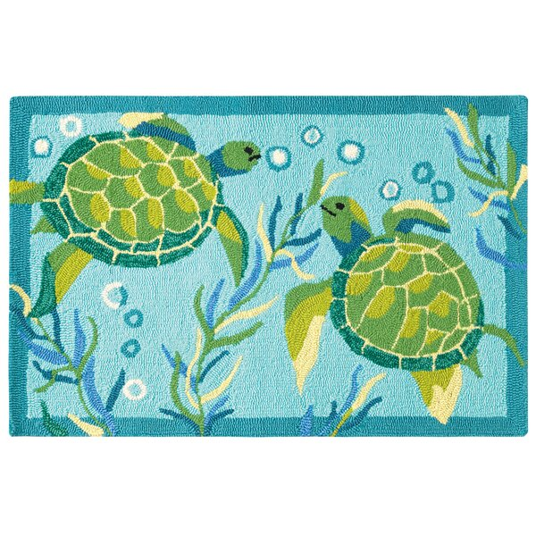 Turtle Bay Hand-Hooked Turquoise/Green Indoor/Outdoor Area Rug by CompanyC