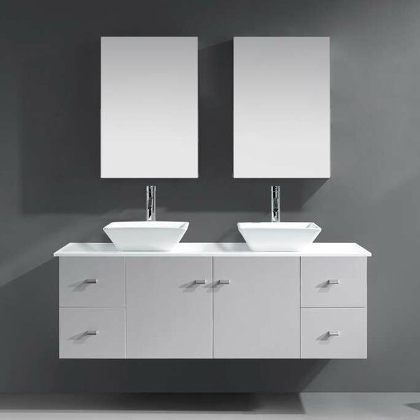 Decastro 61 Double Bathroom Vanity Set with Mirror by Mercury Row
