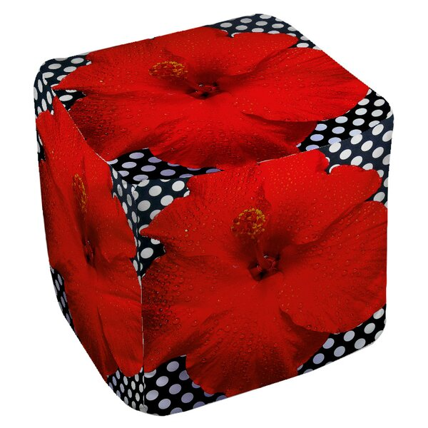 Floral Cube Ottoman by East Urban Home