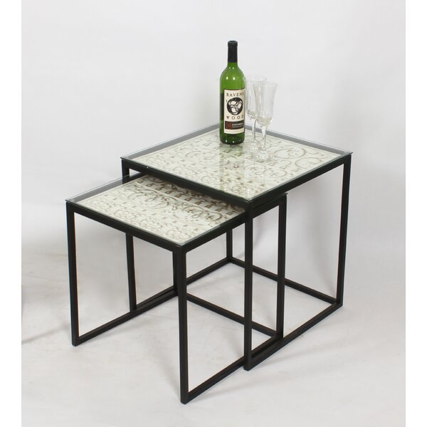 Glass Top Frame Nesting Table By Mercer41