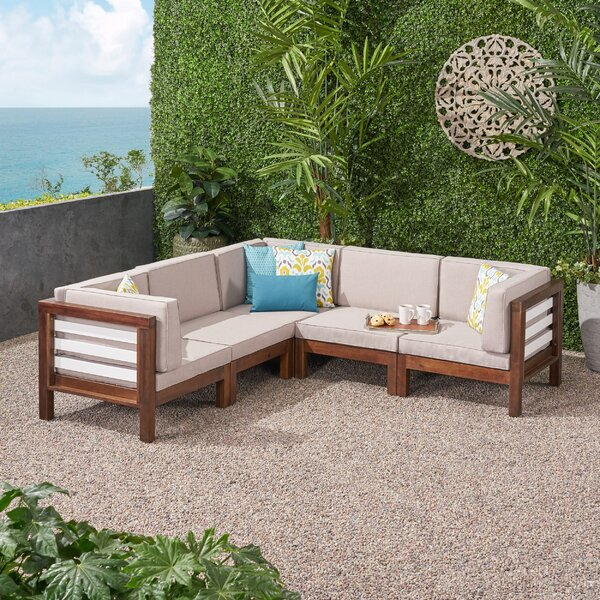 Soler Outdoor V-Shaped Patio Sectional with Cushions by Breakwater Bay