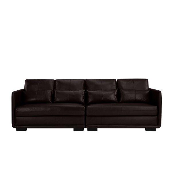 Kiana 2 Piece Convertible Leather Sofa