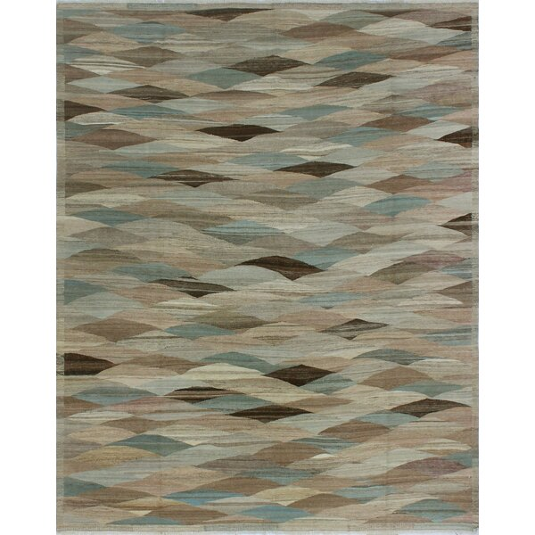 Howerton Hand-Knotted Wool Gray/Blue Area Rug by Red Barrel Studio