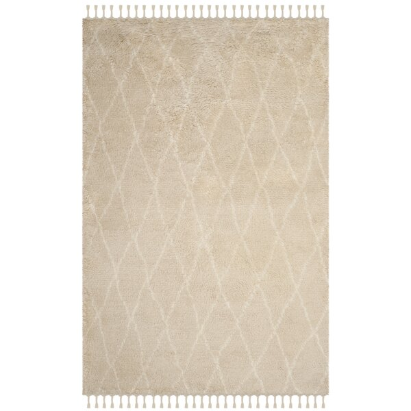Cosima Hand-Knotted Beige/Ivory Area Rug by Bungalow Rose