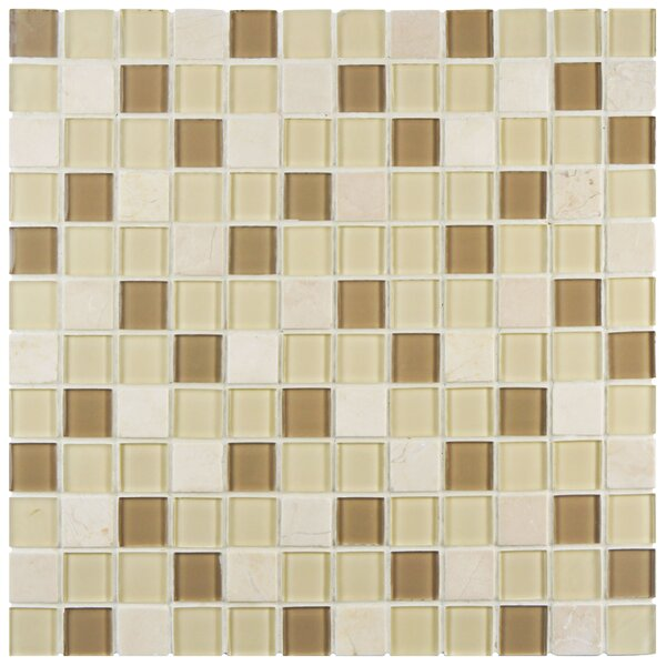 Chroma 0.89 x 0.89 Glass and Natural Stone Mosaic Tile in Brown/Cream by EliteTile