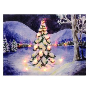 Pine Tree Lit' Painting Print on Canvas by The Holiday Aisle