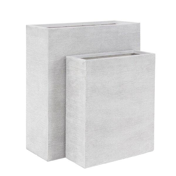 Modern Rectangular 2-Piece Clay Planter Box Set by Cole & Grey