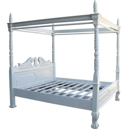 Four Poster Bed Astoria Grand Finish: Antique White, Size: S
