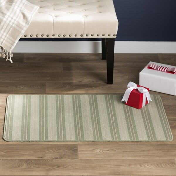 Ravens Striped Light Green Area Rug by Andover Mills