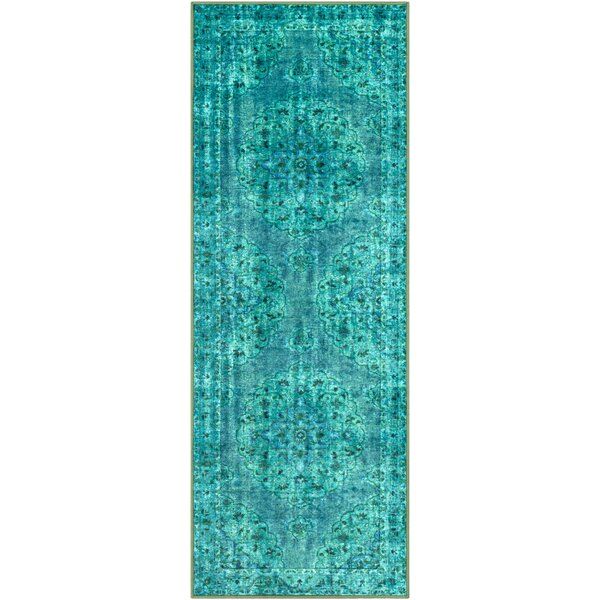 Almon Emerald/Dark Green Area Rug by Bungalow Rose