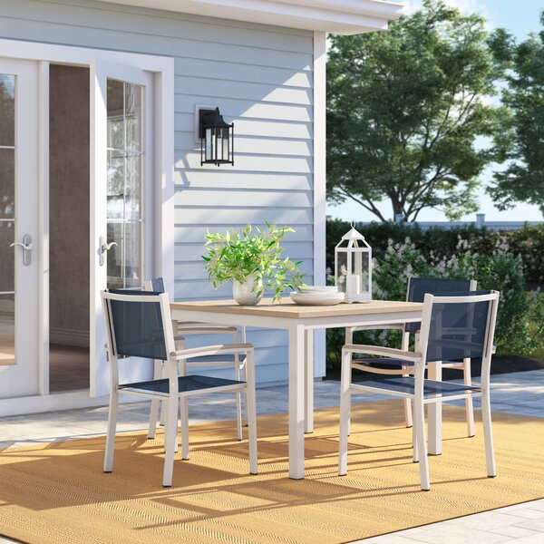 Caspian 5 Piece Teak Dining Set With Ink Sling Back chairs by Sol 72 Outdoor