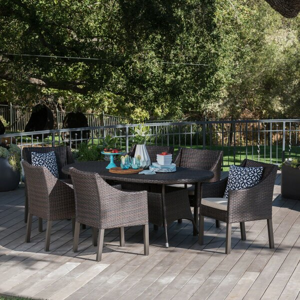 Arant Outdoor Wicker 7 Piece Dining Set with Cushions by Ivy Bronx