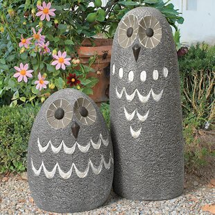2 Piece Ogling Outdoor Owl Garden Statue Set