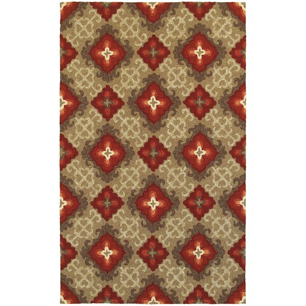 Atrium Floral Panel Brown & Red Indoor/Outdoor Area Rug by Tommy Bahama Home