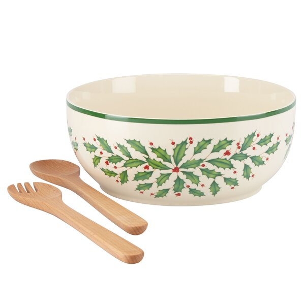 Holiday Salad Bowl with Wooden Servers by Lenox