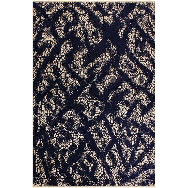 One-of-a-Kind Farren Abstract Hand Knotted Wool Navy/Beige Area Rug by Isabelline