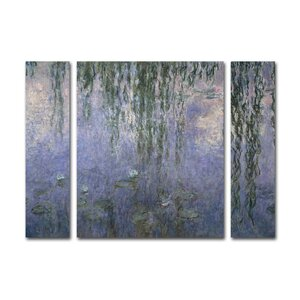 'Water Lilies 1840-1926' by Claude Monet 3 Piece Painting Print on Wrapped Canvas Set by Lark Manor