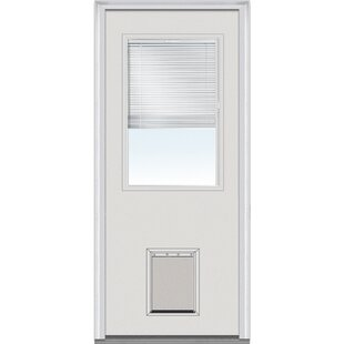 Pet Door Primed Fibergl Prehung Front Entry Doors