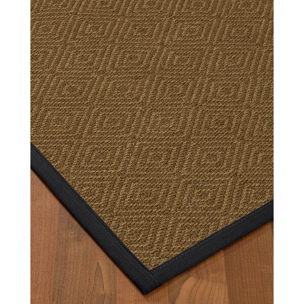Magnuson Border Hand-Woven Brown/Midnight Blue Area Rug by Gracie Oaks
