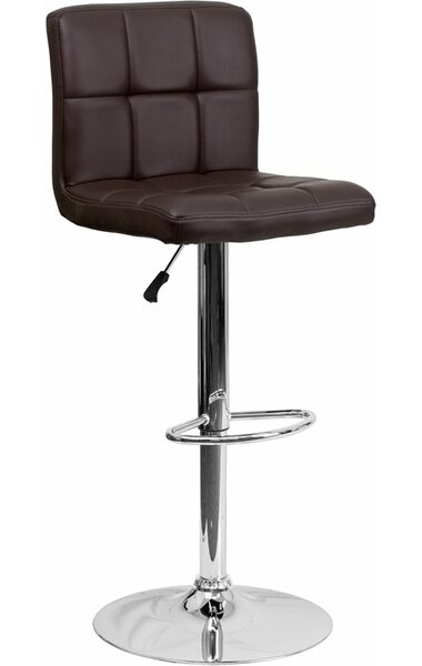 Whelan Mid Back Quilted Adjustable Height Swivel Bar Stool by Orren Ellis