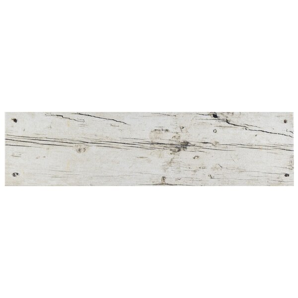 Chalet 5.88 x 23.63 Ceramic Wood Look in White by EliteTile