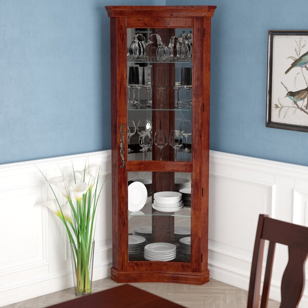Nannie Lighted Corner Curio Cabinet by Darby Home Co