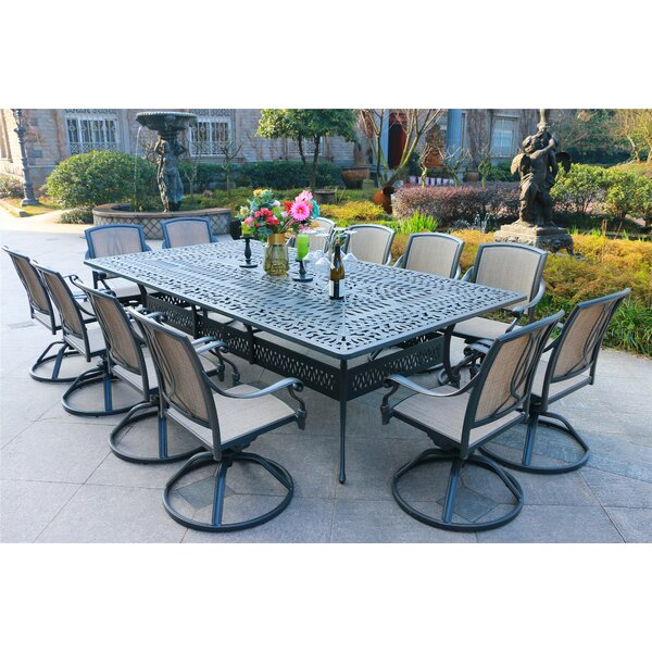 Barbeau Aluminum 13 Piece Dining Set by Canora Grey