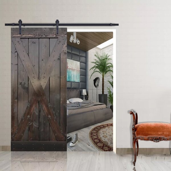 Natural Knotty Pine Solid Panelled Wood Slab Interior Barn Door by TMS