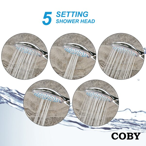 Premium 5-Spray Multi Function Handheld Shower Head by COBY