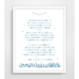 Jermaine I Carry Your Heart with Me Ee Cummings Poem Paper Print by Harriet Bee