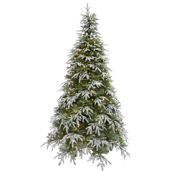 Hunter Green/Snow Fir Trees Artificial Christmas Tree with 500 with White Smart String Lights by The Holiday Aisle