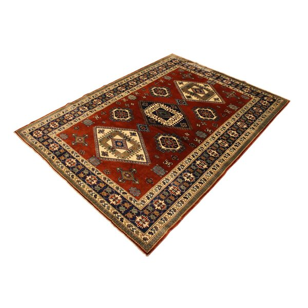 One-of-a-Kind Armillac Hand-Knotted Wool Rust/Blue Area Rug by Bloomsbury Market