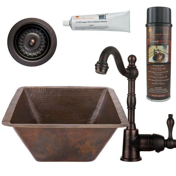 17 L x 17 W  Bar Sink with Faucet by Premier Copper Products