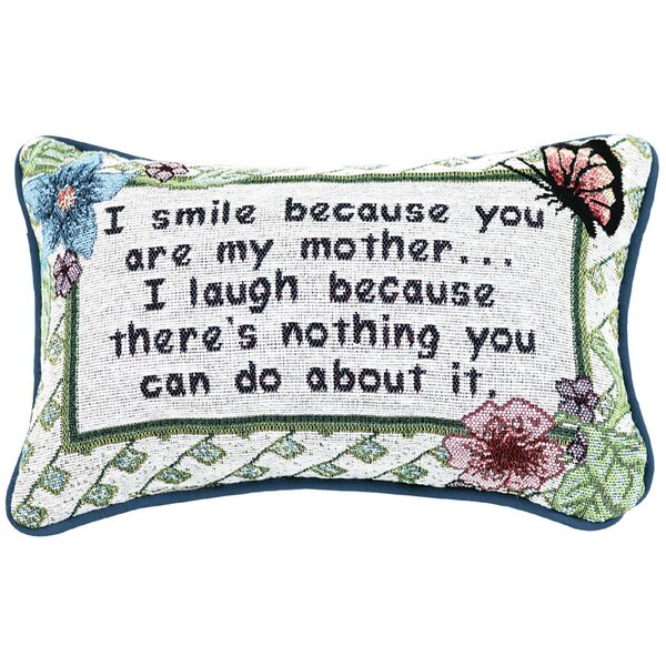 I Smile Because Mother Word Lumbar Pillow by Manual Woodworkers & Weavers
