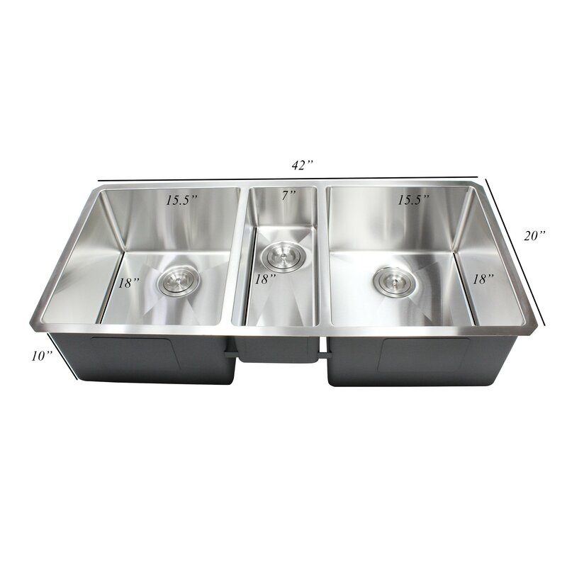 ariel premium stainless steel 42   x 20   undermount kitchen sink with sink grid and emodern decor ariel premium stainless steel 42   x 20   undermount      rh   wayfair com