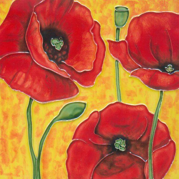 3 Red Poppy Flowers in Orange Tile Wall Decor by Continental Art Center