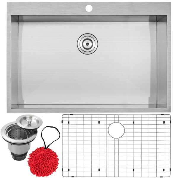 Arlo Stainless Steel 33 L x 18 W Drop-In Kitchen Sink with Accessories