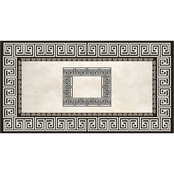 Nasser Black/Light gray Indoor/Outdoor Area Rug by Bloomsbury Market